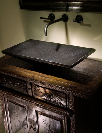 Antique chest used as vanity with Stone Forest Sink
